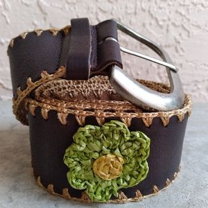BOHO WOMEN'S DAISIES 🌼 BROWN LEATHER WIDE BELT